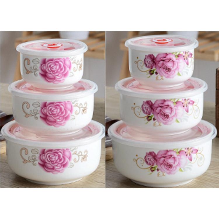密封保鲜碗带盖泡面碗陶瓷碗家用骨瓷泡面餐具专用微波炉饭盒套装